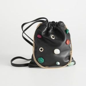 & Other Stories Bags - & Other Stories Black Leather Gem Stones Crossbody